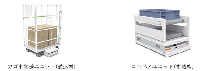 カゴ車搬送ユニット(潜入型)、コンベアユニット(搭載型)